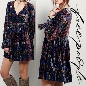 Free People Mystic Charm Mini Velvet Dress XS